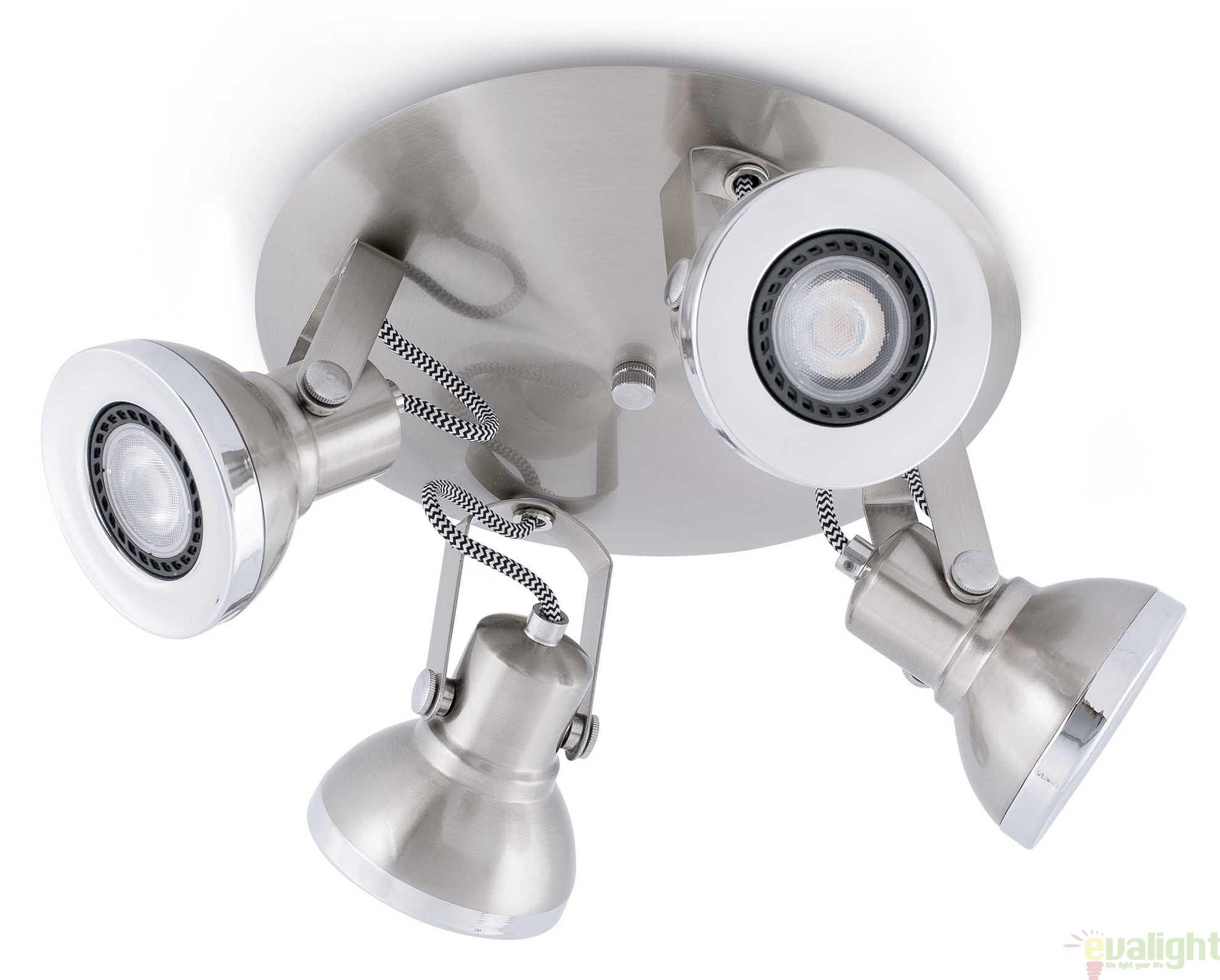 Plafoniere Moderne Cu Led : Plafonier cu spoturi iluminat led nickel mat ring
